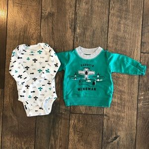 Carters Daddy's Wingman Airplane Sweatshirt Onesie
